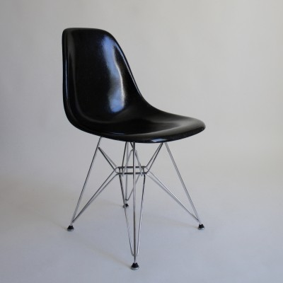 1970's Eames Black Fibreglass DSR chair by Vitra For Herman Miller