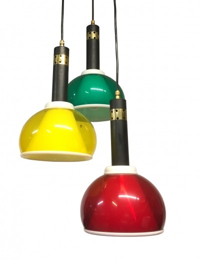 1960s Brass & colored perspex hanging lamp