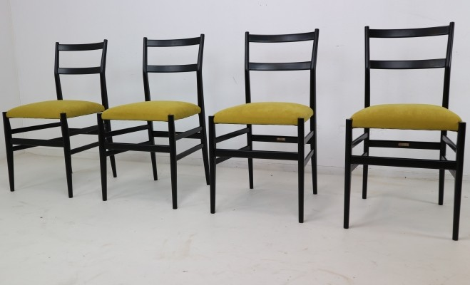 Set of 4 Gio Ponti 'Leggera' chairs, Italy 1951