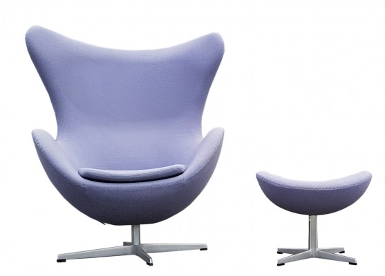 Iconic Arne Jacobsen Egg Chair & Ottoman by Fritz Hansen Denmark, 1999