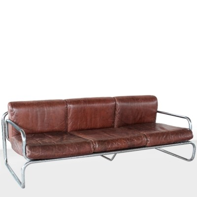 Italian metal & leather sofa, 1960s