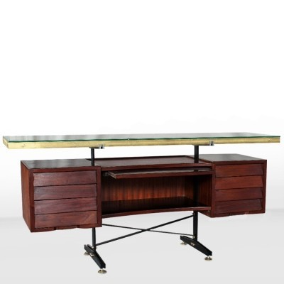Italian Midcentury Credenza / desk with brass details, 1960s