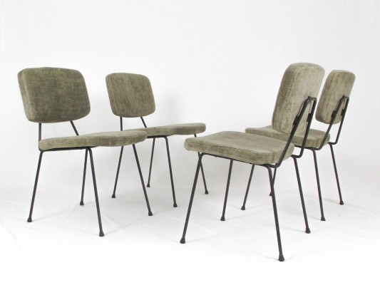 Set of 4 CM 196 dinner chairs by Pierre Paulin for Thonet, 1950s