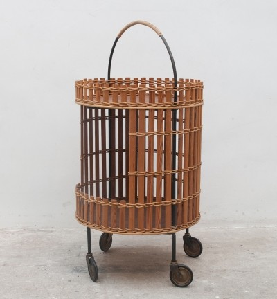 Original round serving trolley in bamboo & iron, 1960s