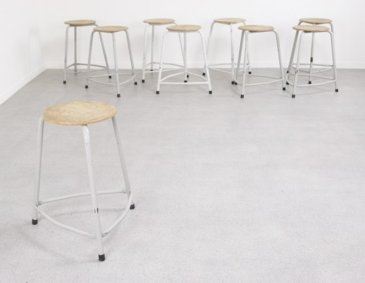 15 industrial stacking stools, 1960s