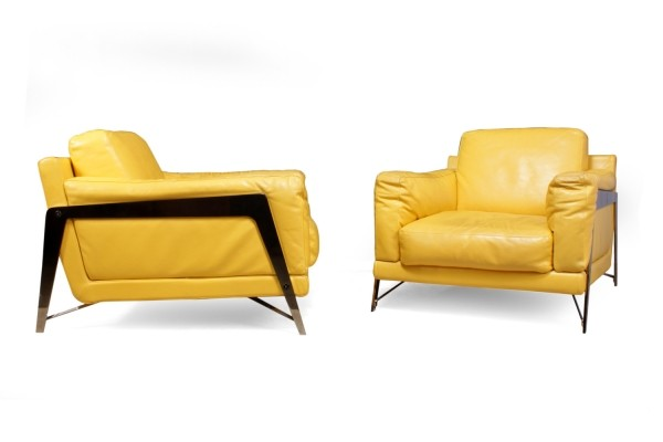 Pair of Leather & Chrome Chairs by Roche Bobois