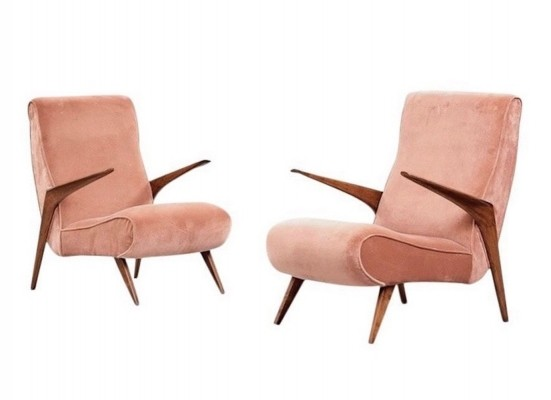 Pair of Pink Velvet Armchairs with Wooden Armrests