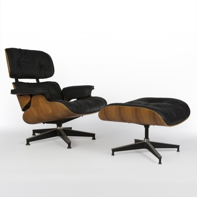Original Herman Miller Black And Rosewood Eames Lounge Chair And Ottoman