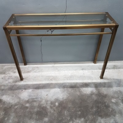 Vintage brass with cut glass console side table, 1980s