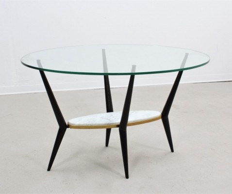 Italian glass & marble oval coffee table