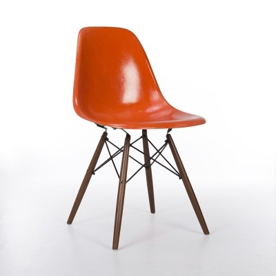 Original Herman Miller Vintage Orange Eames DSW Dining Side Chair