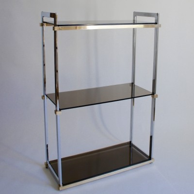 1970's Pieff Chrome & Smoked Glass Shelves