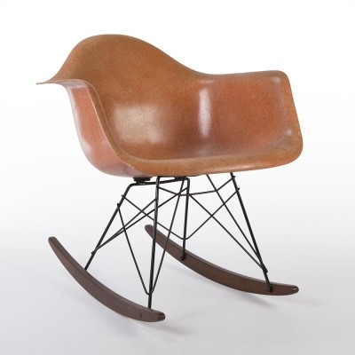 Original Herman Miller Vintage Salmon Eames RAR Rocking Arm Shell Chair