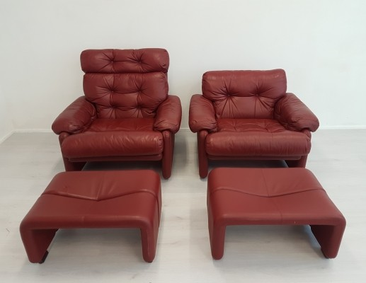 Pair of Tobia Scarpa Coronado lounge chairs for BandB Italia