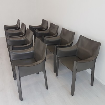 Set of 8 Cassina CAB-413 chairs by Mario Bellini