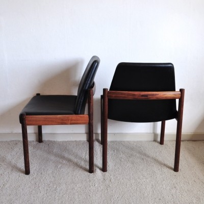 Easy chairs by Norwegian designer Sven Ivar Dysthe with patinated leather upholstery