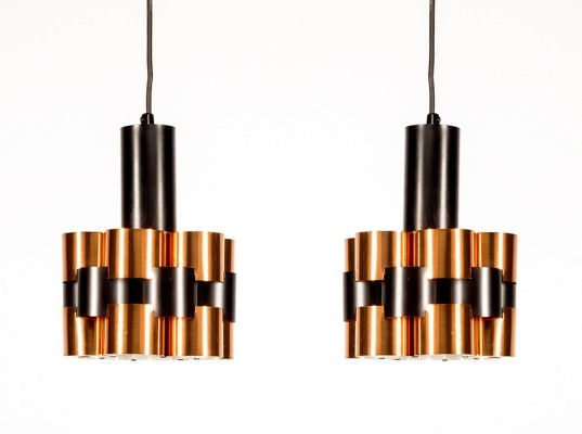 Pair of hanging lamps by Werner Schou for Coronell Elektro Denmark, 1960s
