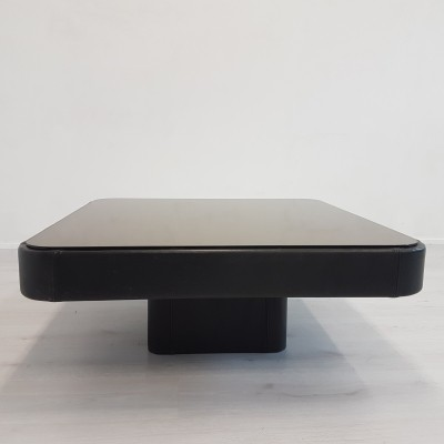 Black leather coffee table with smoked glass by De Sede
