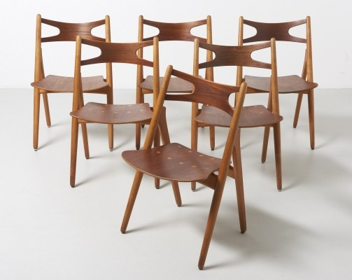 Set of 6 Sawbuck dinner chairs by Hans Wegner for Carl Hansen & Son, 1950s
