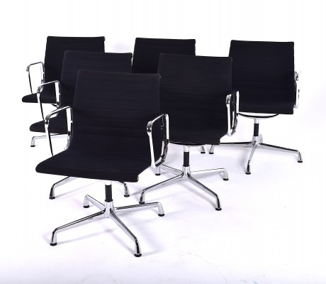 Set of 6 EA 108 office chairs by Charles & Ray Eames for Vitra, 1980s