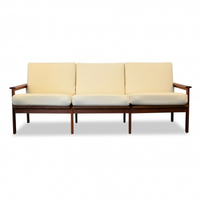 Vintage Danish design Illum Wikkelso 'Capella' 3-seating teak sofa