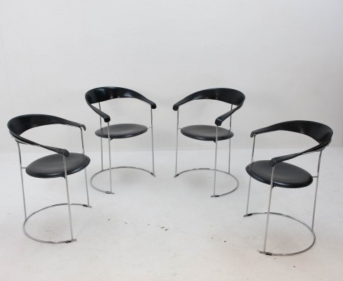 Set of 4 Canasta dinner chairs by Arrben Italy, 1960s