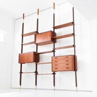 Italian Teak & Brass Floor to Ceiling Wall Unit - Bookshelf, 1950s
