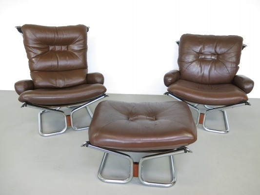 Pair of Ingmar Relling lounge chairs, 1970s