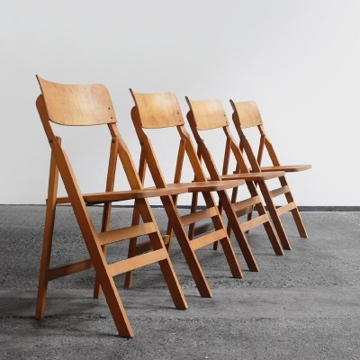 Set of 4 beech folding chairs from France, 1950s