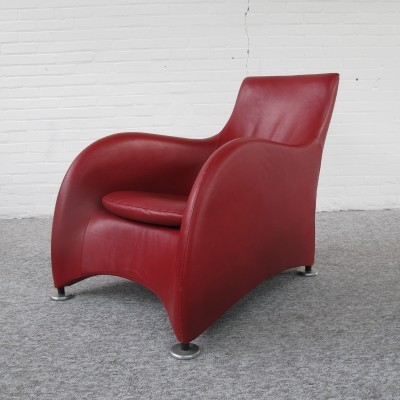 Red Leather Loge Lounge Chair By Gerard Van Den Berg For Montis
