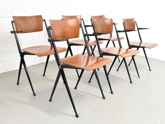 Set of 6 Pyramid dinner chairs by Wim Rietveld for Ahrend de Cirkel, 1960s