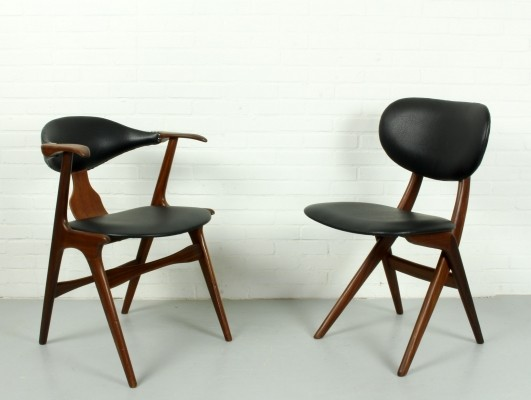 Cowhorn & Scissor dinner chairs by Louis van Teeffelen for WeBe, 1950s