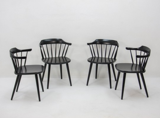 Four black FH01 chairs by Yngve Ekström for Pastoe