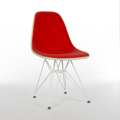 Original Herman Miller Red Alexander Girard White Eames Upholstered DSR Chair