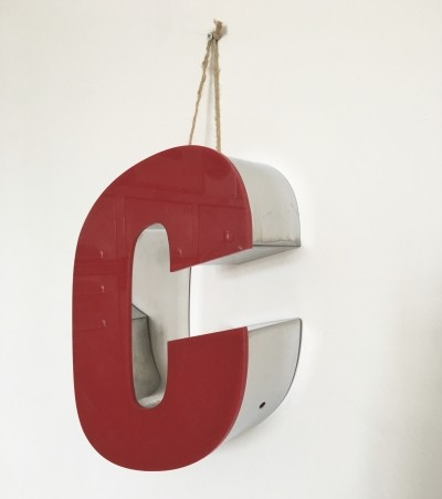 Vintage shop sign letter C in red & chrome, 1970s