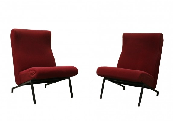 Pair of Miami easychairs by P. Guariche for Meurop, 1950s