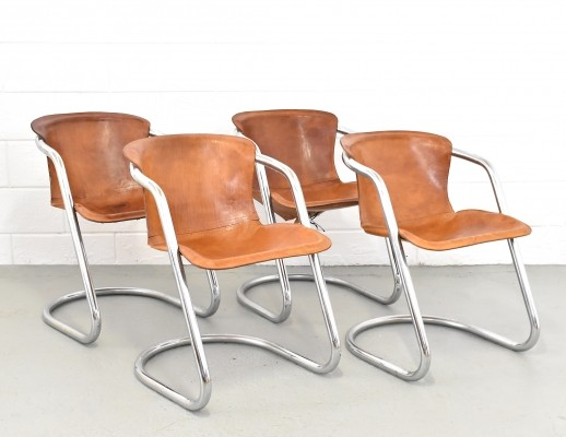 Set of 4 dinner chairs by Willy Rizzo for Cidue, 1950s