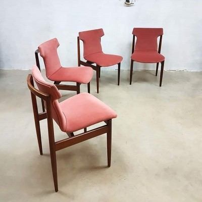 Vintage pink velvet dinner chairs by Inger Klingenberg for Fristho