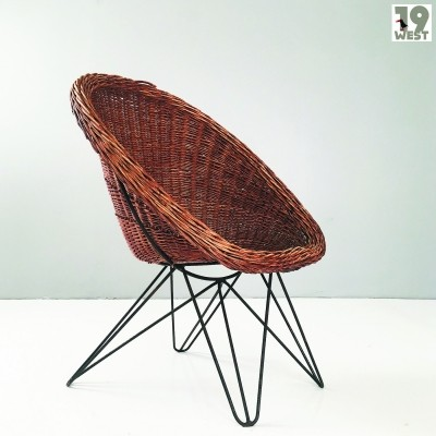 Wicker & hairpin chair, 1950's