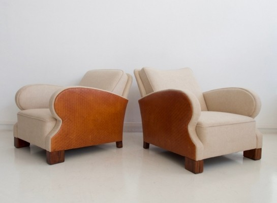 Pair of Wool & Leather Upholstered Armchairs