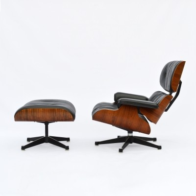 Eames Lounge Chair ES670 with Ottoman ES671in Rio Palisander, early Fehlbaum edition