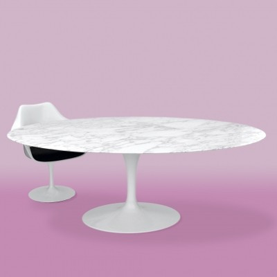 Knoll International Saarinen Dining Table with Arabescato ( Carrara ) Marble