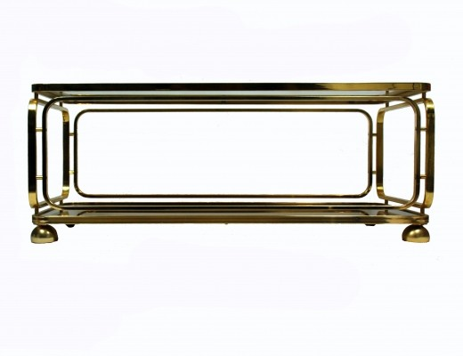 Allegri Brass & Smoked Glass Coffee Table, 1970s