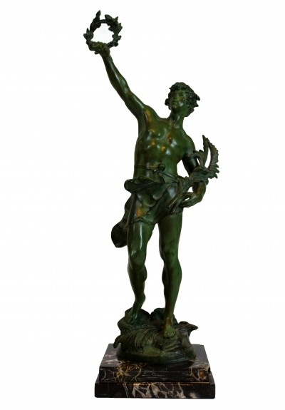French Louis Moreau 'Le Triomphe' Statue in Bronze & Marble, 1920s