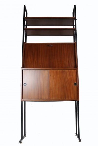 Italian Wood & Metal Cabinet with Writing Desk, 1950s