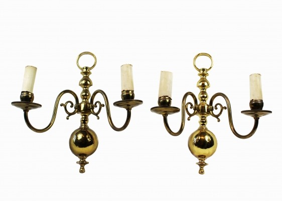 Set of 2 French Brass Applique Wall Lights, 1970s