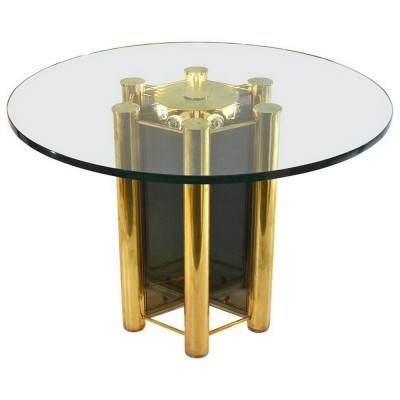 Unique hand made dining table in brass & glass with lighting, 1960s