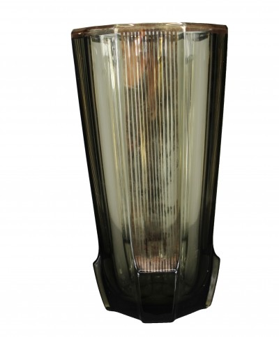 French Art Deco Vase Smoked Glass with Gold Stripes, 1940s