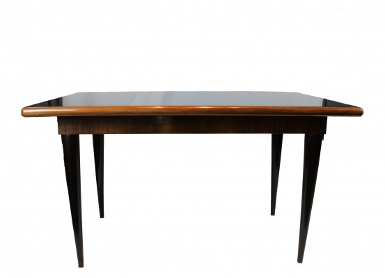 Italian Dining Table with Mirrored Black Glass, 1950s