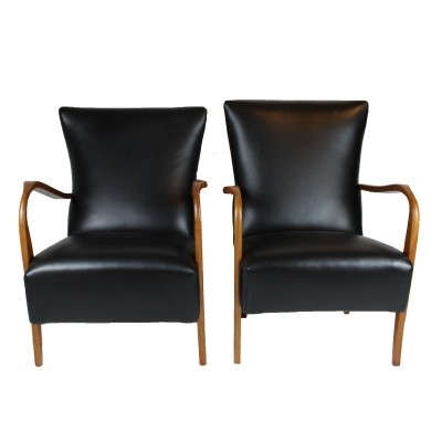 Italian Black Leather Pair of Armchairs, 1940s